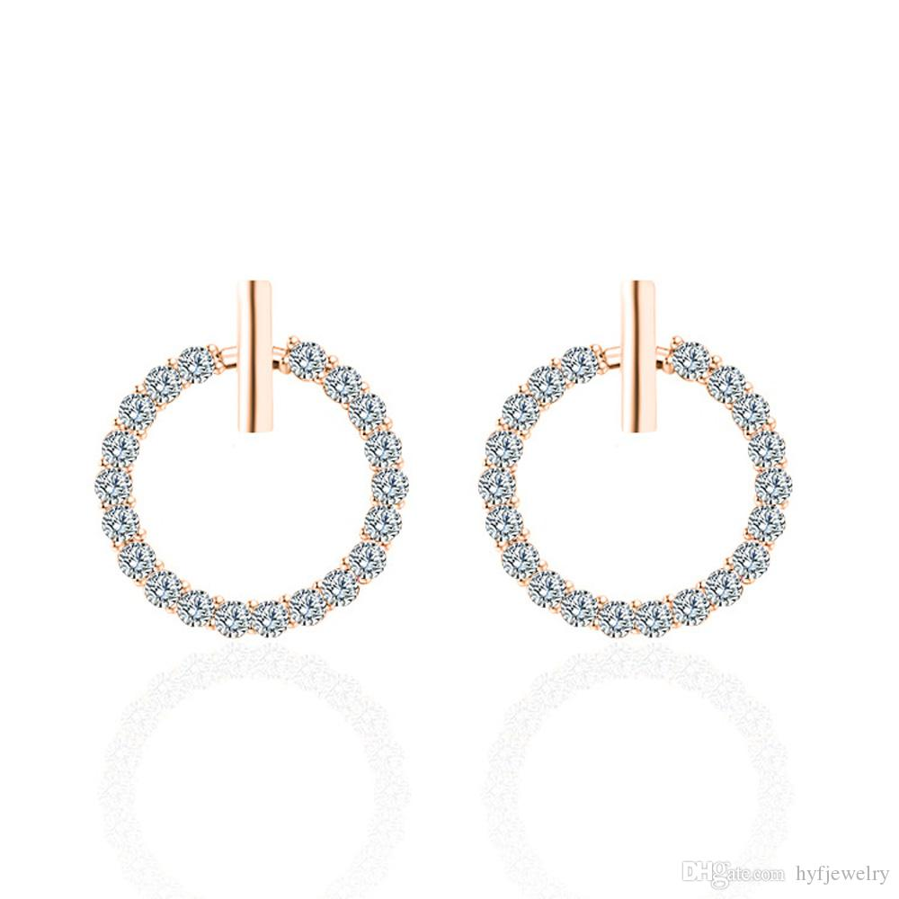 S925 brincos de prata completos Rhinestone austríaca círculo de cristal prisioneiro brincos de jóias clássico moda mulheres meninas presente