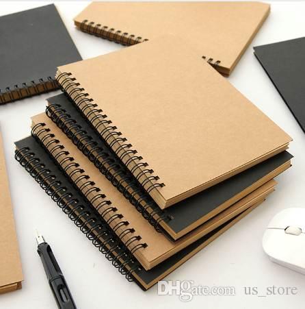 1 PCS Retro Kraft Coil Sketch Sketchbooks Graffiti Blank Notebook Creative Notebook Notepad Book Diary Book School Stationery
