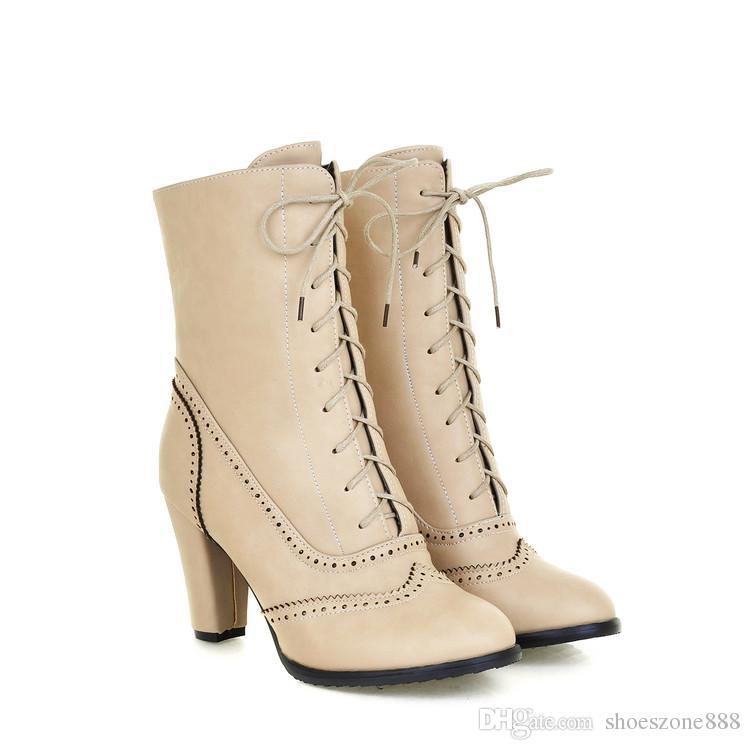 neue Herbst Winter PU Leder schnüren Ankle Boots für Frauen High Heels Motorrad kurze Stiefel Schuhe Zx800