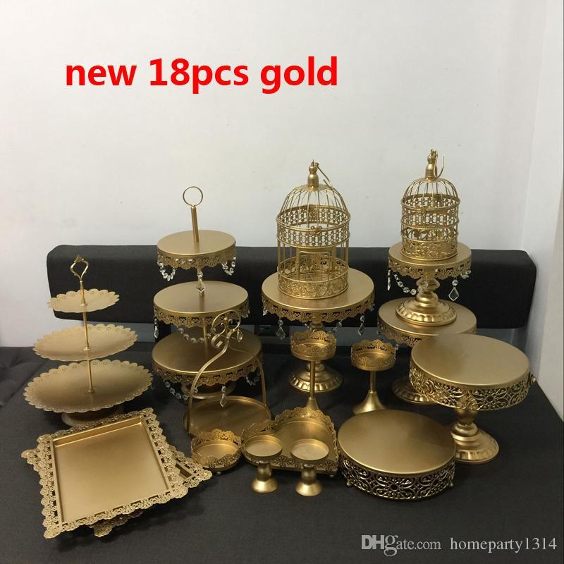 20pcs /lot white gold crystal metal cake stand wedding cupcake stands cake plates pan fruit bar decoration cookie cake tools bakeware set