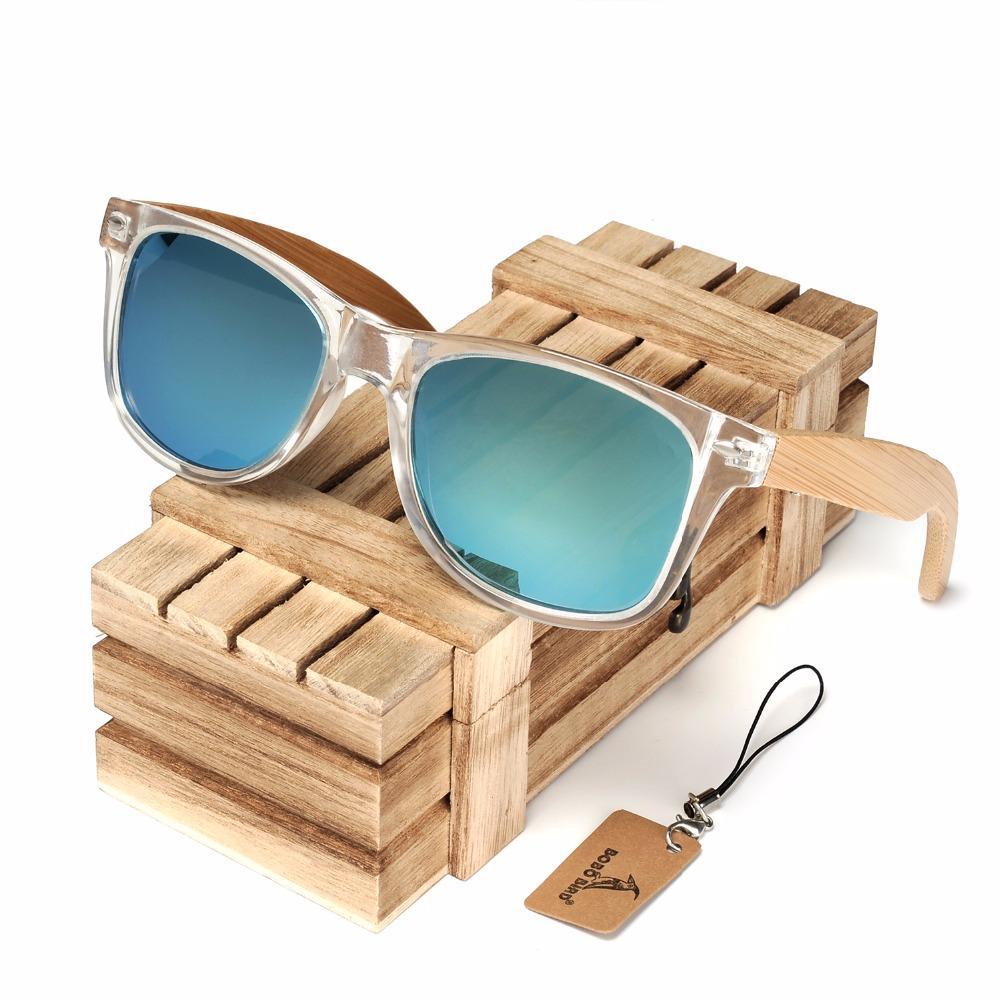 Lentes BOBO BIRD madera de bambú gafas de sol polarizadas color claro de las mujeres con protección UV 400 C-CG008
