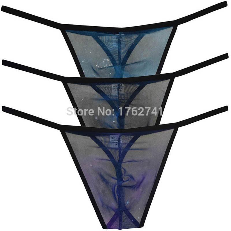 Lados delgados Bikini Hombres Ropa interior transparente Tanga Lencería Tanga Malla tanga