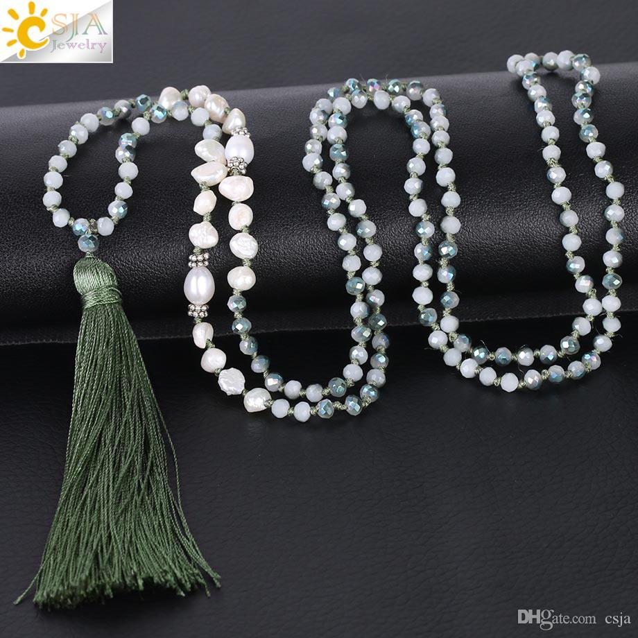 CSJA Irregular Pearl Beaded Necklace Mature Women Glass Crystal Beads Knot Rope Chain Necklaces Long Tassel Party Dress Jewelry S060