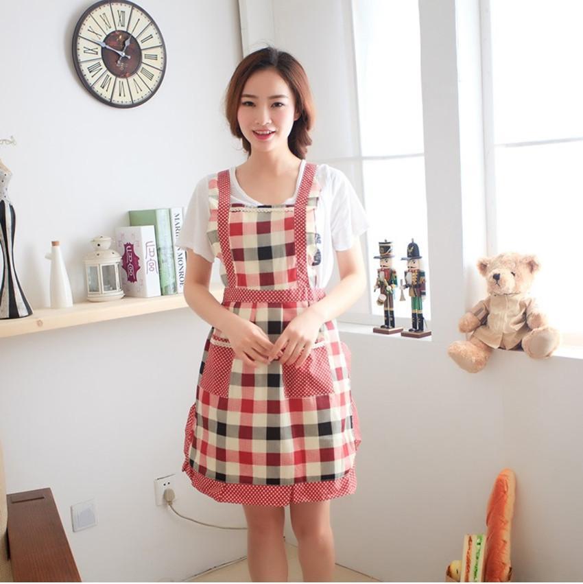 한국어 스타일 목가적 인 공주님 빨간 격자 코튼 민소매 앞치마 주방 / 식당 청소 작업복