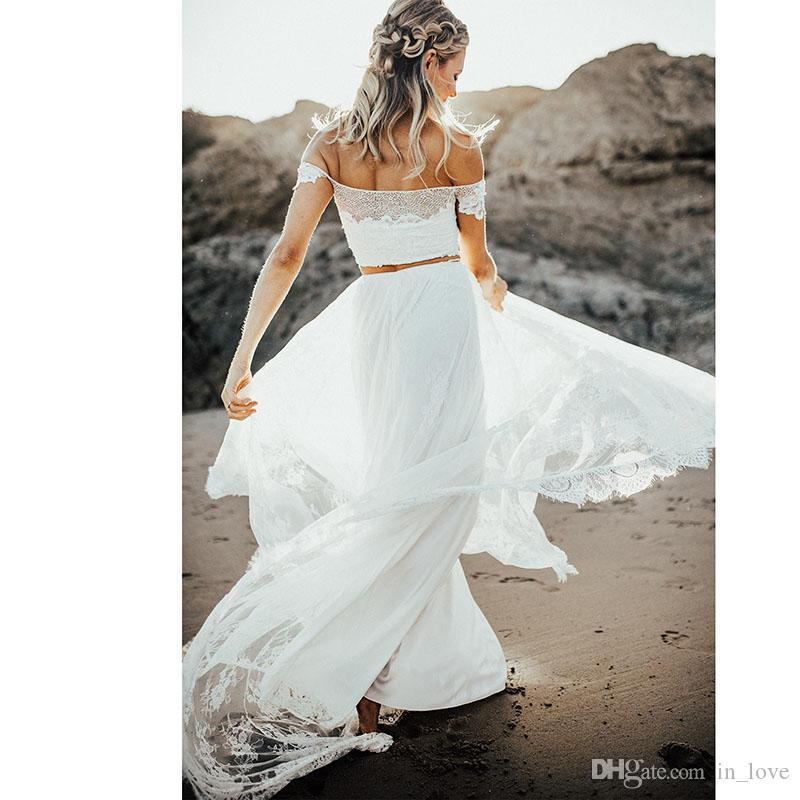 Discount Two Pieces Casual Beach Wedding Dresses Boho Lace Off Shoulder Short Sleeve Elegant Floor Length 2019 Bridal Gowns Custom Size Cheap Wedding Dresses Online Corset Wedding Dresses From In Love 75 71 Dhgate Com