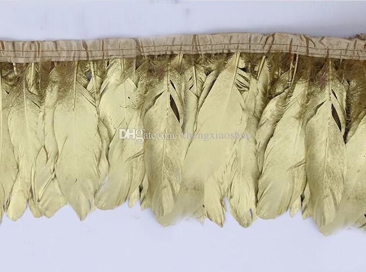 Livraison gratuite 2 mètres or plume d'oie garniture frange plume d'oie garniture pour artisanat costume décor