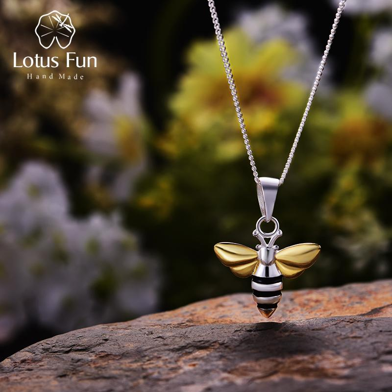 لوتس المرح ريال 925 فضة اليدوية الجميلة مجوهرات جميلة عسل النحل قلادة تصميم دون سلسلة acessorios للنساء