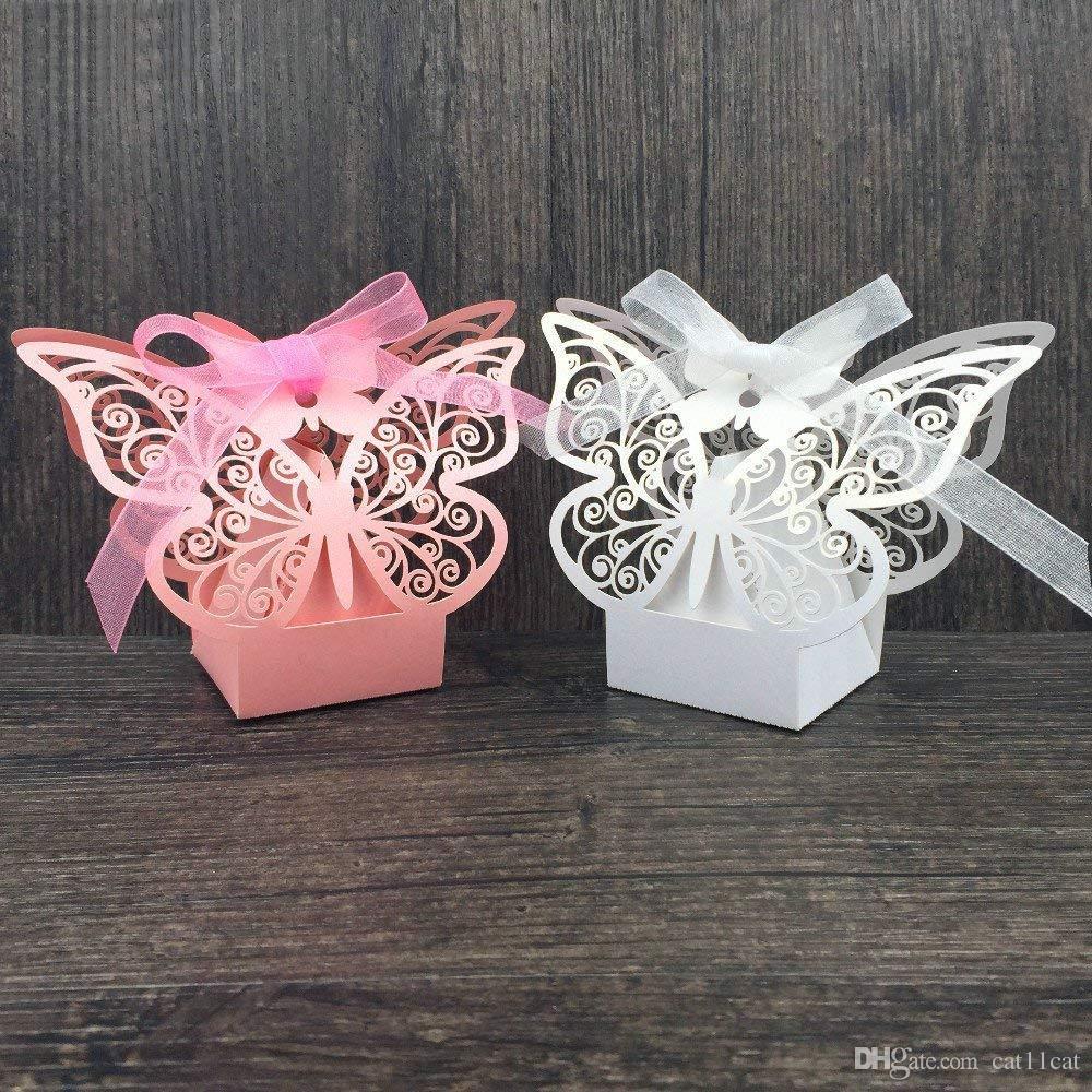 Farfalle Fai Da Te acquista bomboniere con taglio laser bomboniere con farfalle contenitore  con farfalle fai da te con nastri decori da sposa feste di compleanno a  21,7