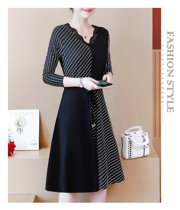 2019 Korean Fashion Women Dress Autumn Large Size Dresses Striped Patchwork Dress Ladies Lace V-Neck Long Sleeve Vestidos Robe Femme (4)