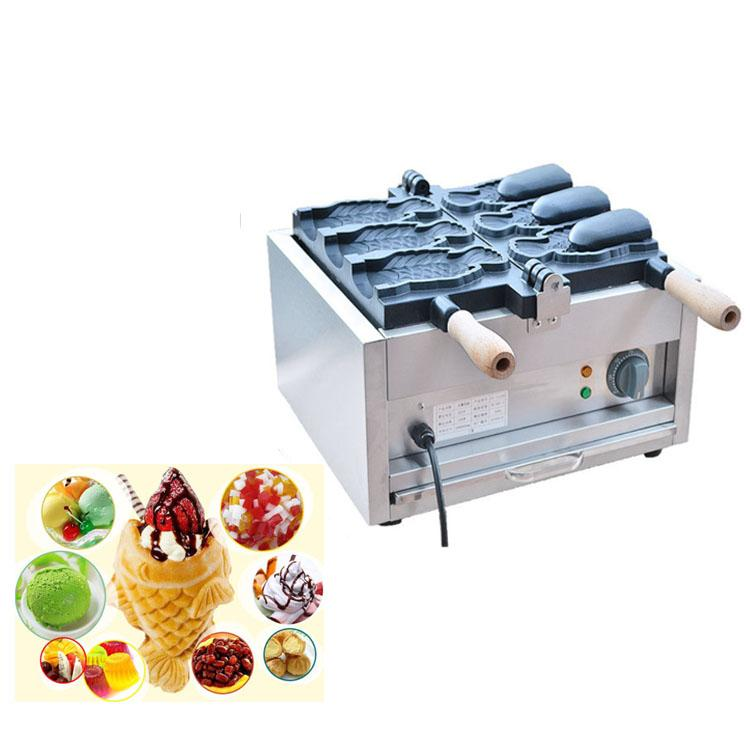 Máquina de Taiyaki para sorvetes de alta eficiência / Big Fish Shaped Cake Mould / Boca aberta Taiyaki Maker Machine Price
