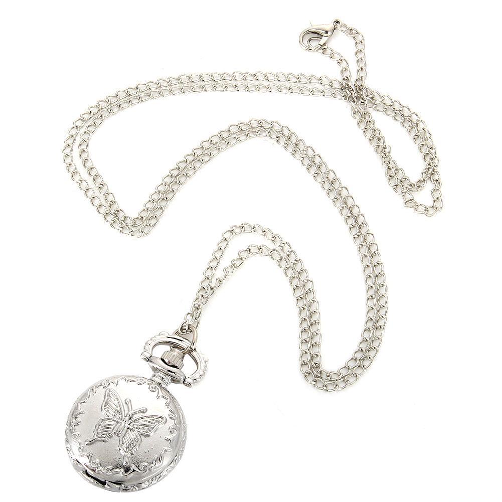 Moda vintage quarzo orologio da tasca lega fiori farfalla donne signora ragazze collana pendente maglione catena orologio regali