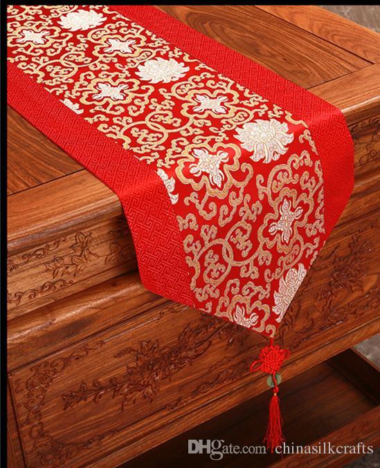 Elegante runner in raso di seta cinese runner decorativo in cotone damascato runner rettangolare stuoia da tavolo da pranzo L200 x L 33 cm