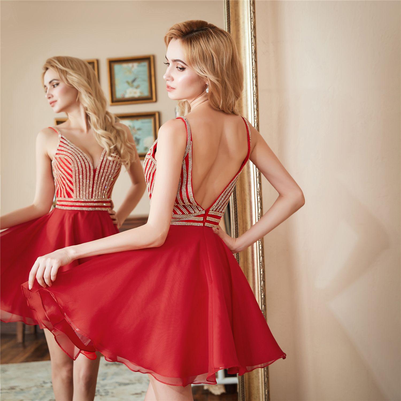 Vestidos de fiesta cortos v cuello mini vestidos de cóctel 2018 nuevas muchachas baratas vestidos de fiesta robe de soirée
