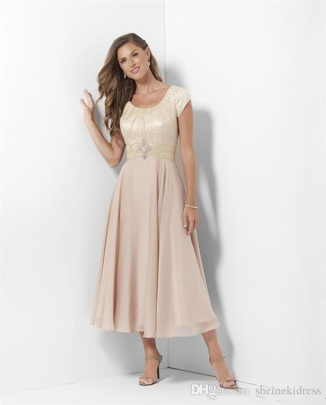 Champagne gasa encaje vestidos de dama de honor modestos largos con mangas Longitud de té Vestidos casuales de la boda de la madre Novias Vestidos de sirvientas