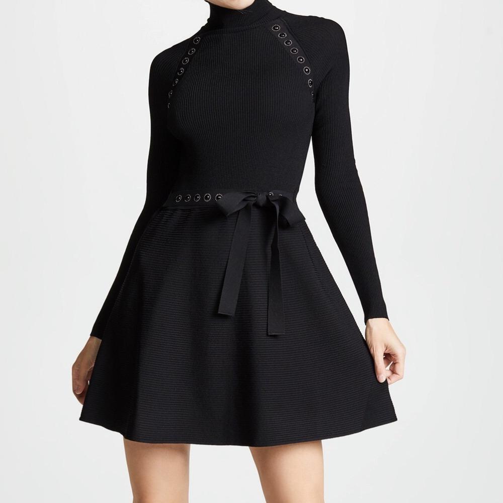 2018 automne et hiver col haut manches longues lourd rivet perlée femmes SLIM robe tricotée avec ceinture