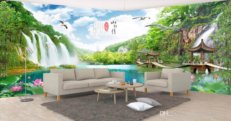 Benutzerdefinierte 3d Wandbild Tapete Schlafzimmer Wohnzimmer Wasserfall Fototapete 3d TV Hintergrund Tapete Heimwerker