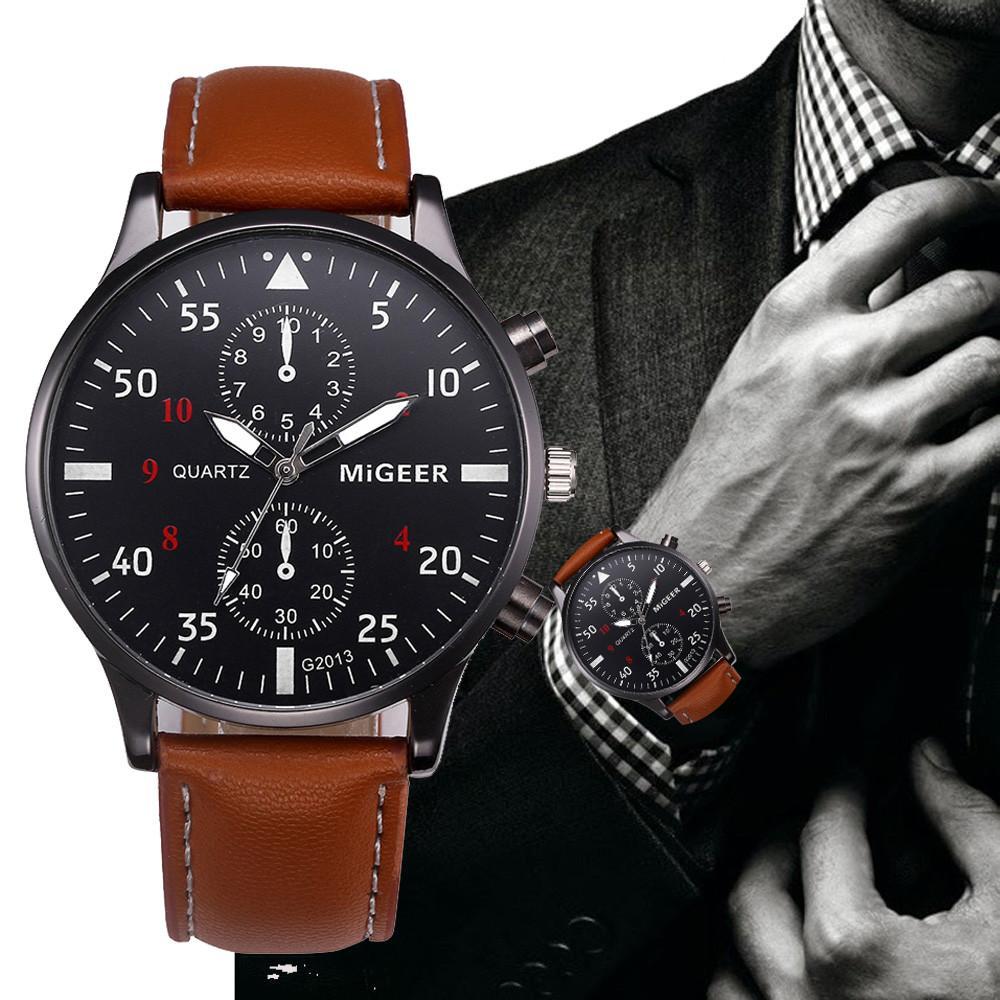 Rétro Design En Cuir Bande De Montres Hommes Top Marque Relogio Masculino 2018 NOUVEAU Hommes Sport Horloge Analogique Quartz Montres de Poignet