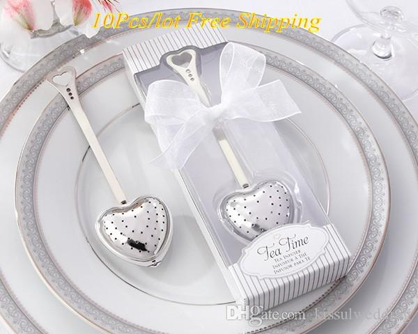 (10 Pieces/lot) Wedding and Party Decoration favors of Tea Time Heart Tea Infuser in white gift box Wedding door gift for guests
