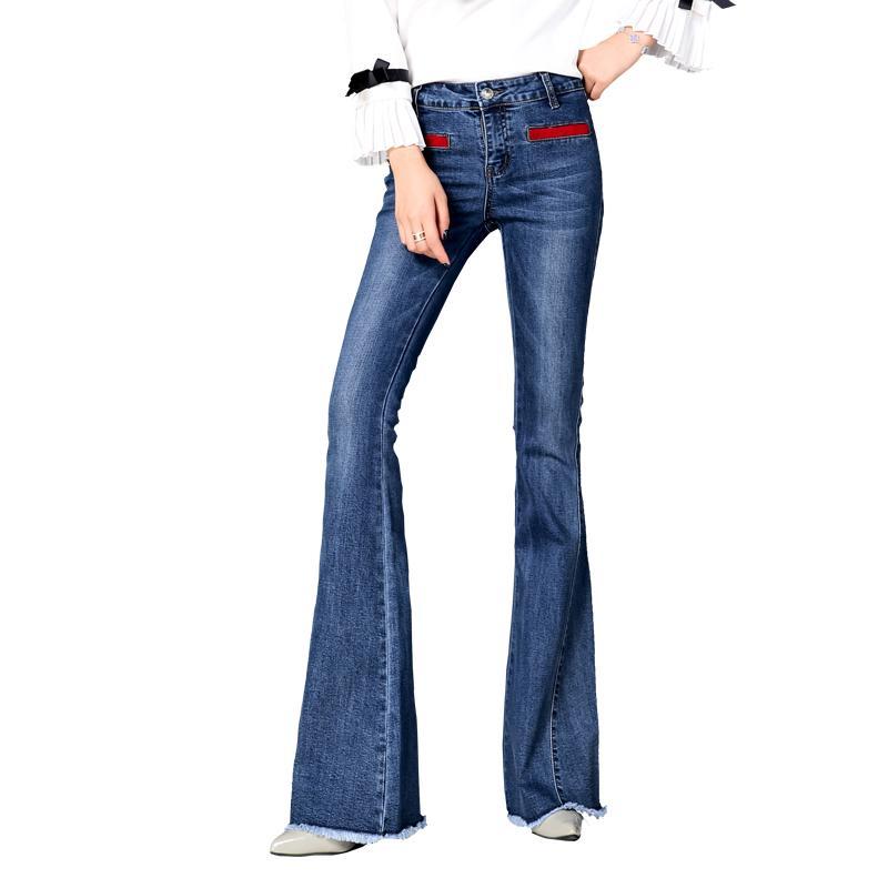 가을 신상품 하이 웨이스트 플레어 청바지 바지 플러스 사이즈 26-32 스트레치 스키니 청바지 여성 넓은 다리 슬림 엉덩이 데님 부트 컷