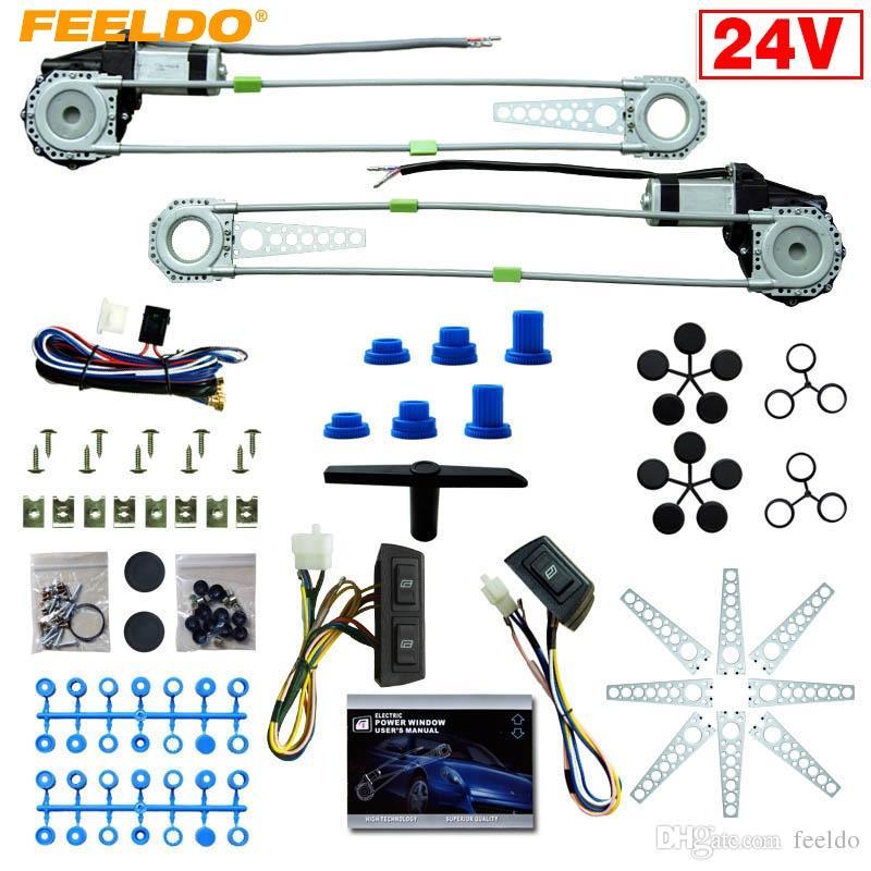 Feeldo DC24V 자동차 / 트럭 전면 2 도어 3PCS / SET 스위치 하네스와 전력 창 키트 # 4064