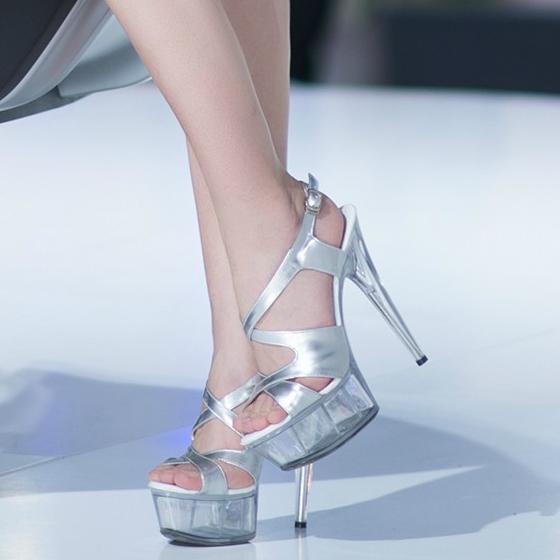 Gladiator Women Sandals Summer Fashion Extreme Stiletto High Heels 15CM Platform Sandal Wedding Shoes Silver Pole Dancing Shoes
