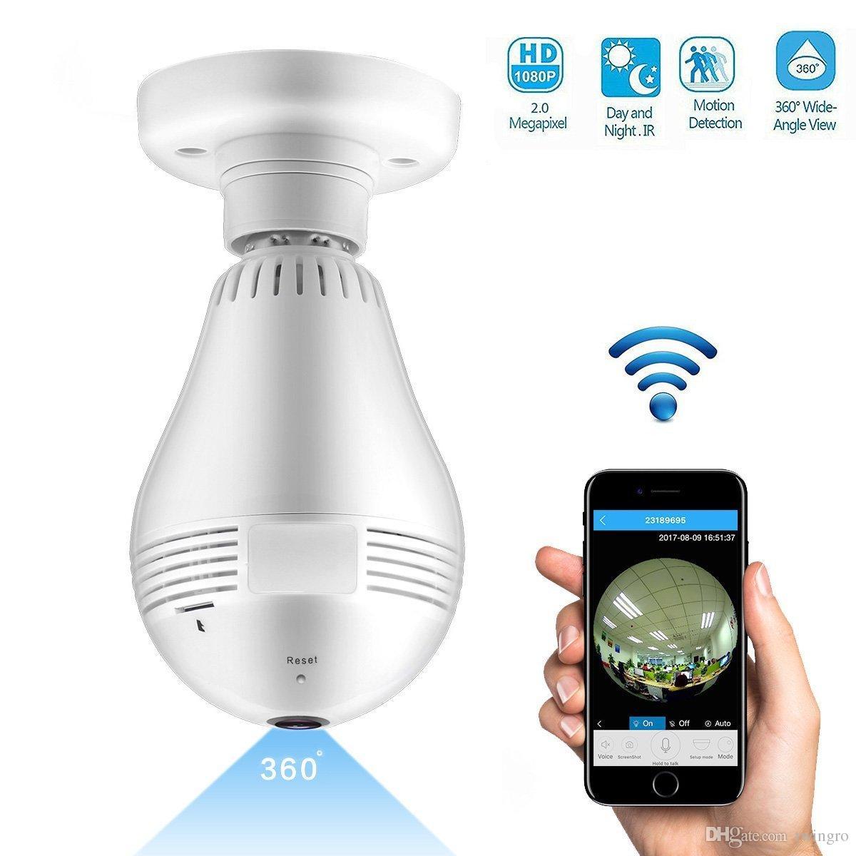 WiFi Light Bulb Telecamera di sicurezza 1080P HD Fisheye LED Light 360 ° Live Feed Lampadina Telecamera dome 2 vie Audio Indoor Remote Home Sorveglianza