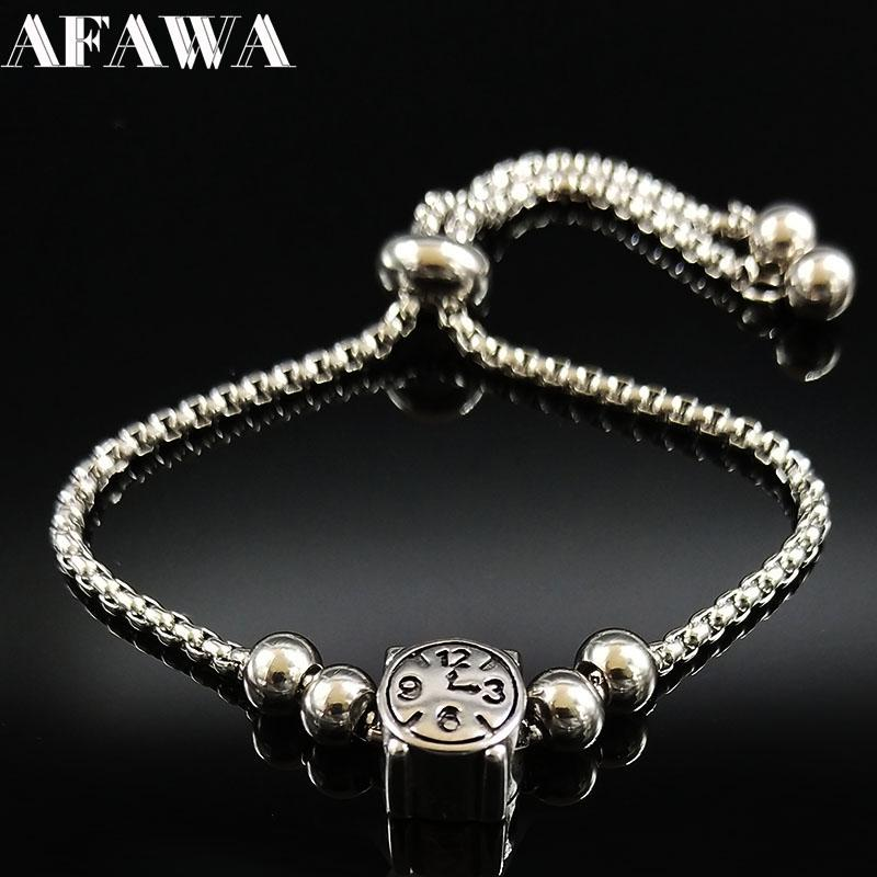 2018 Fashion Clock Stainless Steel Chain Bracelet for Women Silver Color Bead Charm Bracelet Jewelry acero inoxidable B18278