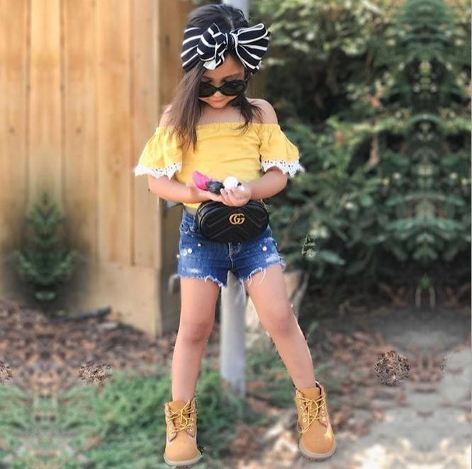 Toddler Kids Baby Girl Off shoulder Lace Tops + Lace Denim Shorts Jeans Summer 2PCS Conjunto de ropa