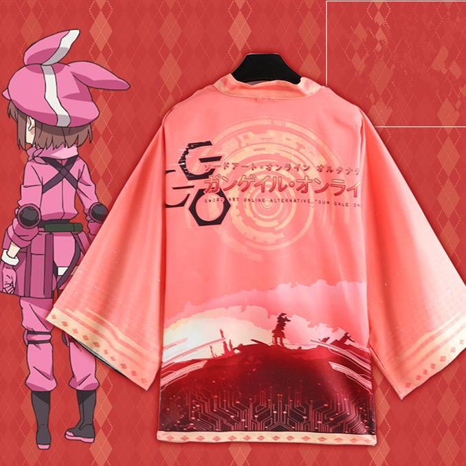 Asya Boyutu Bir Boyut Japonya Anime Sword Art Online GGO Cosplay Kostüm Yukata Haori Şifon Bornoz Kimono Cloak Coat