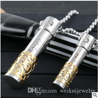El collar cilíndrico personalizado de la urna de la personalidad del acero inoxidable de la personalidad puede abrir la joyería pendiente de la inscripción de la botella del perfume