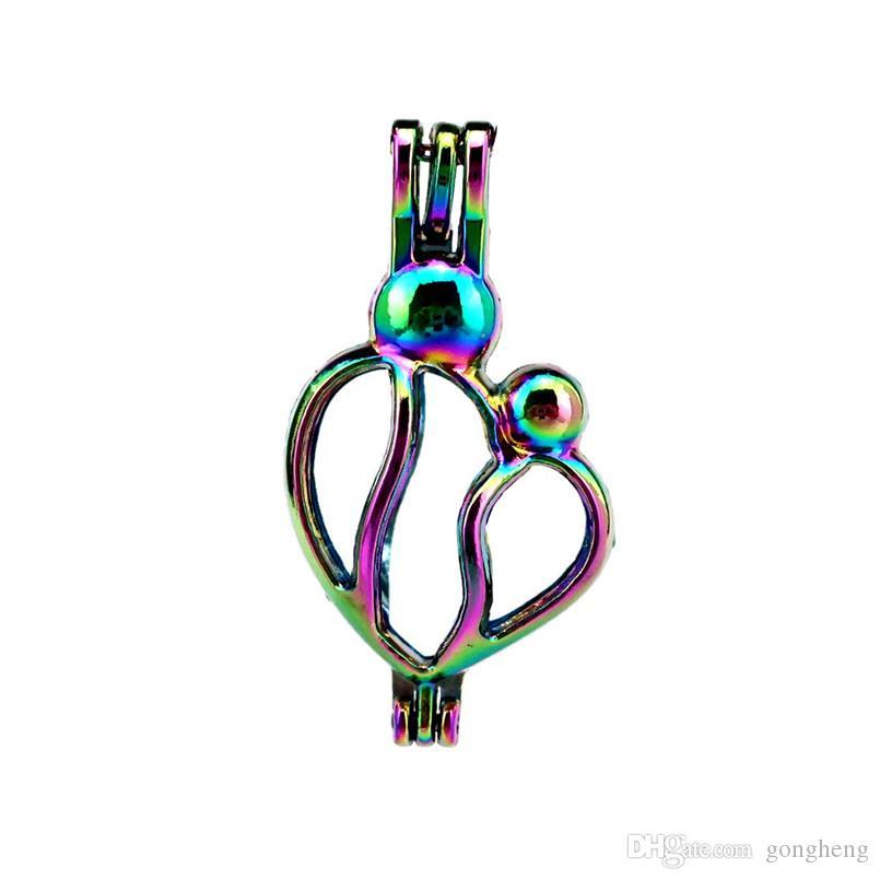 10 unids / lote corazón del color del arco iris ahueca hacia fuera los granos de la jaula locket colgante difusor aromaterapia perfume aceites esenciales difusor flotante pom