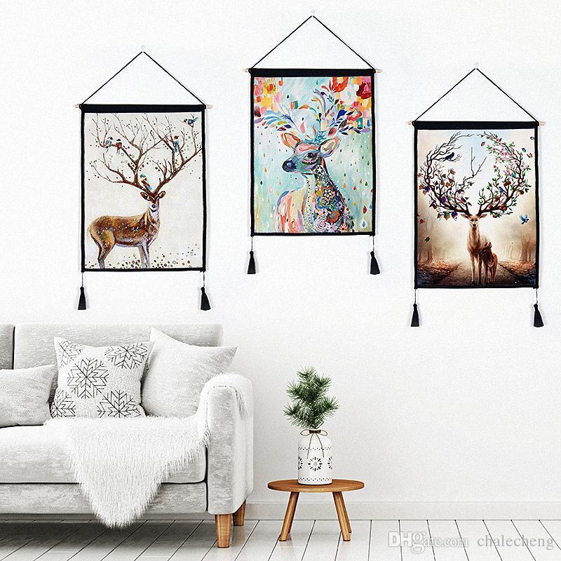tassel wall decor.htm 2020 modern home living room decor cotton linen painting deer horn  cotton linen painting deer horn