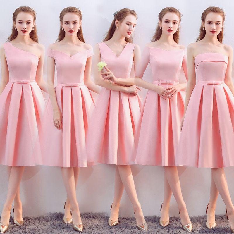 Vestido De Noiva 새로운 핑크 신부 들러리 드레스 티셔츠 길이 새틴 V 목 우아하고 저렴한 졸업 파티 드레스 공식적인 가운 사용자 정의 색상