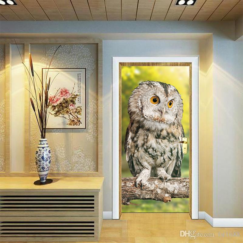Removable Creative Cute Owl Sitting on Tree Branch Door Sticker Waterproof Wallpaper Art DIY Vinyl Decal Kids Bedroom Living Room Home Decor
