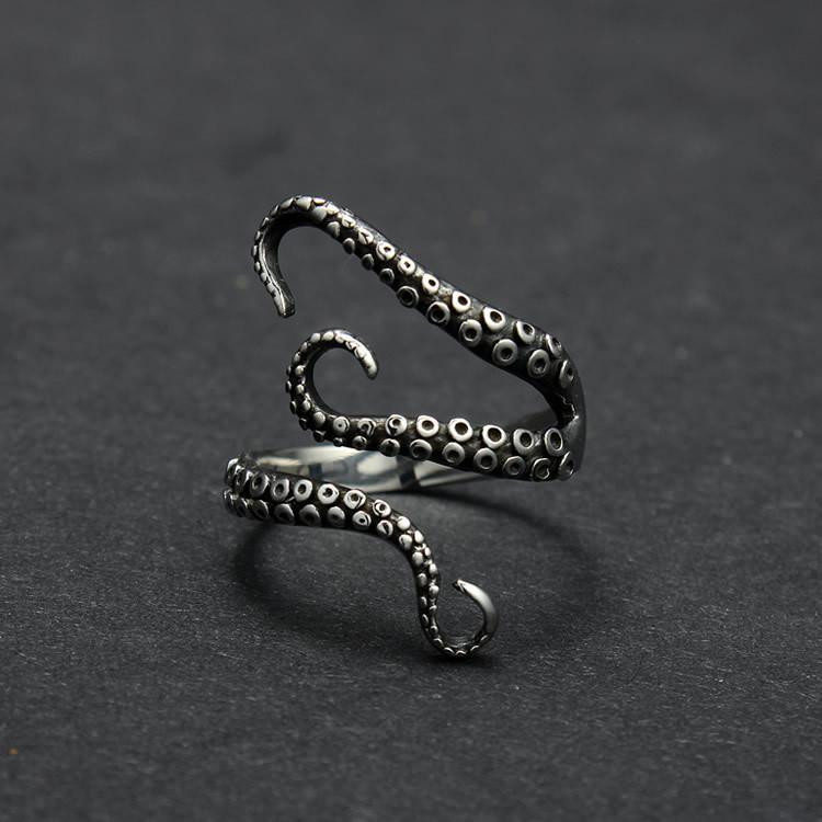Neutro anelli di barretta punk di nuovo stile Squid Octopus nuovo anello monili animali aperto barretta registrabile Anello per uomo e donna