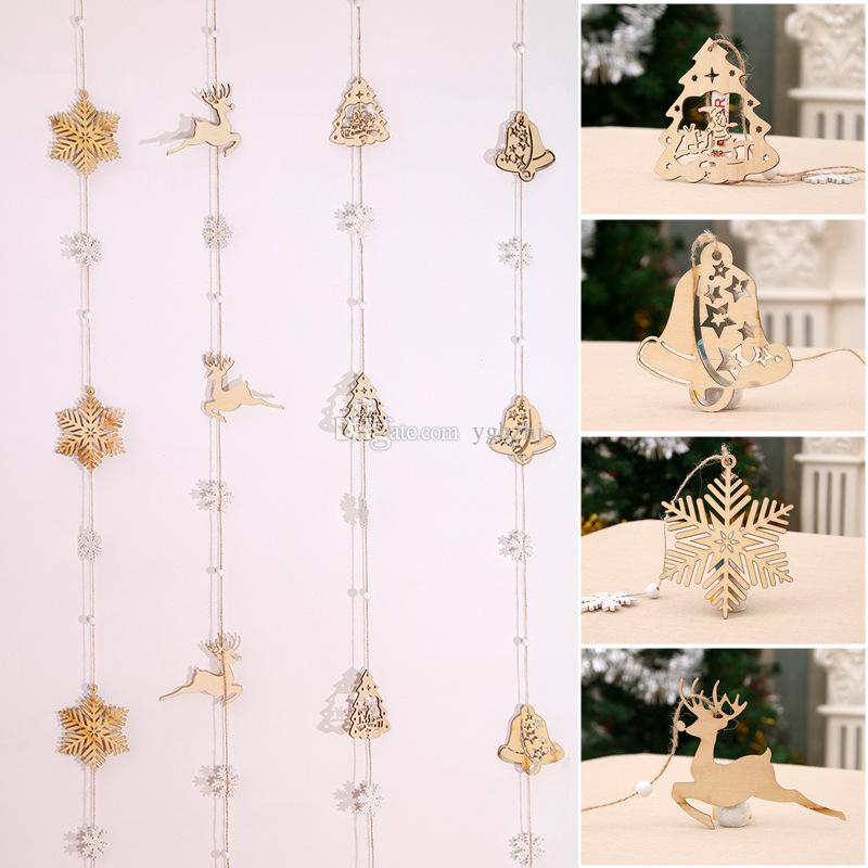 Factory Wholesale Christmas Decorations, Pendant Wooden Bells Snowflakes Old Man Christmas Decorations, Christmas Tree Hanging Strings