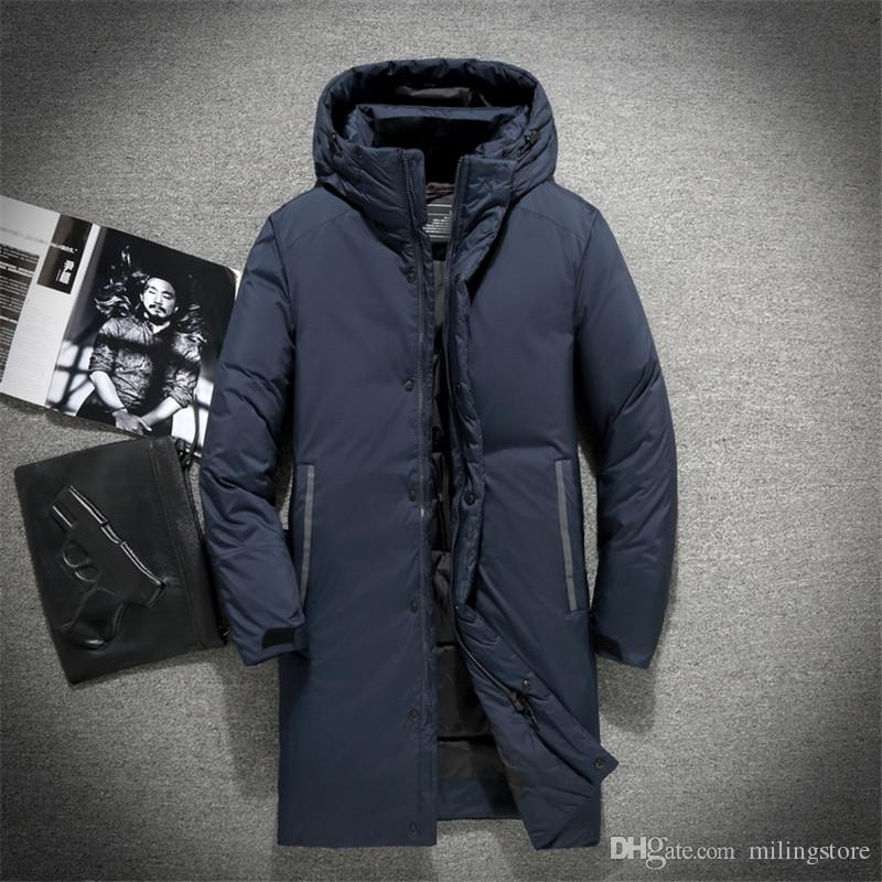 New men's winter jackets top quality thick keep warm long down jacket men 90% white duck down coat cloth