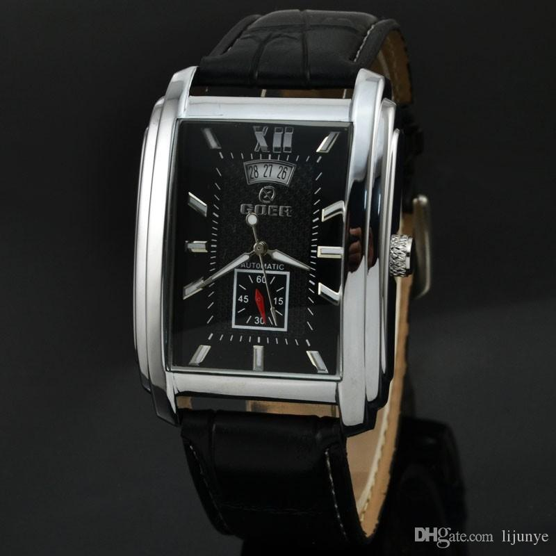 2018 nuovi uomini di stile orologio da polso rettangolare business casual calendario cintura automatica orologio meccanico montre homme spedizione gratuita