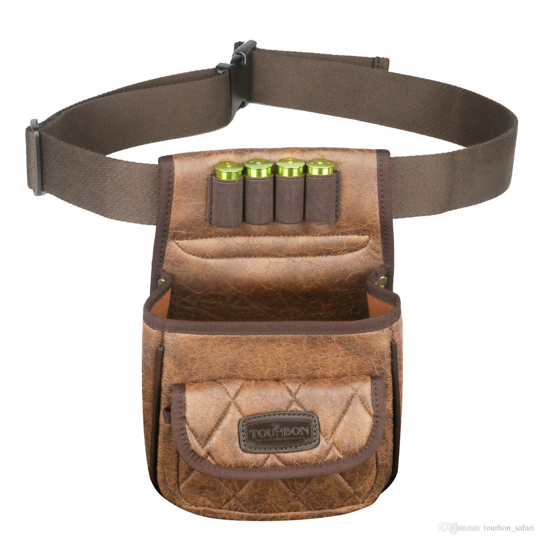 Tourbon الصيد خراطيش بندقية التكتيكية حقيبة رماية سرعة محمل لعبة حقيبة الذخيرة قذائف حامل دائم pu الحقيبة مع جيب واحد