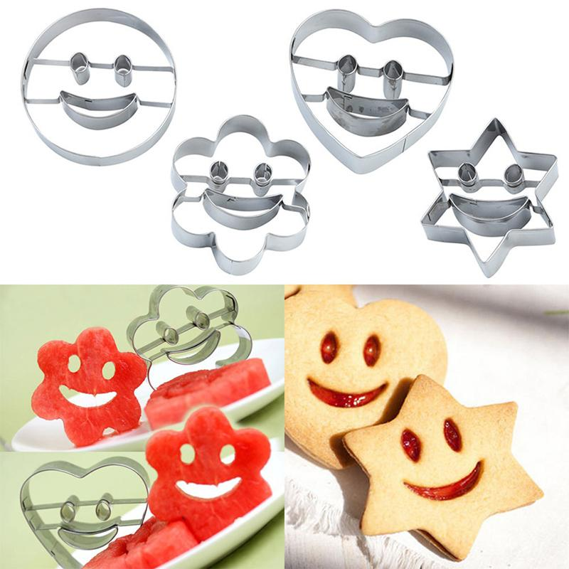 4PCs/ Set Cookie Cutter Stainless Steel Mold 3D Heart Flower Star Smile Form Kitchen Cake Decorating Tools Baking Tools For Cake