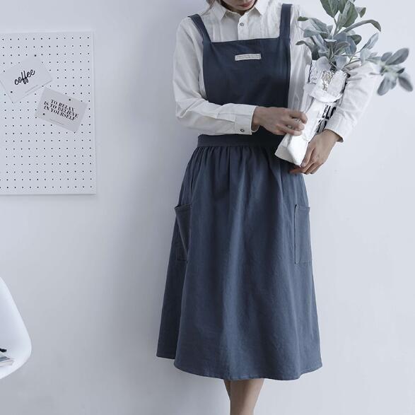 Faltenrock Design Schürze Einfache gewaschene Baumwolle Uniform Schürzen für Frau Dame Küche Kochen Garten Coffee Shop