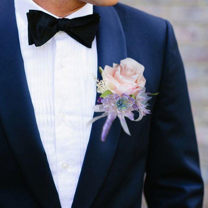 Düğün Damat Göğüs Pembe Mor Moda Yeni Yıl En İyi Grooms Brothers Törenlerin Ana Ebeveyn Çiçekler