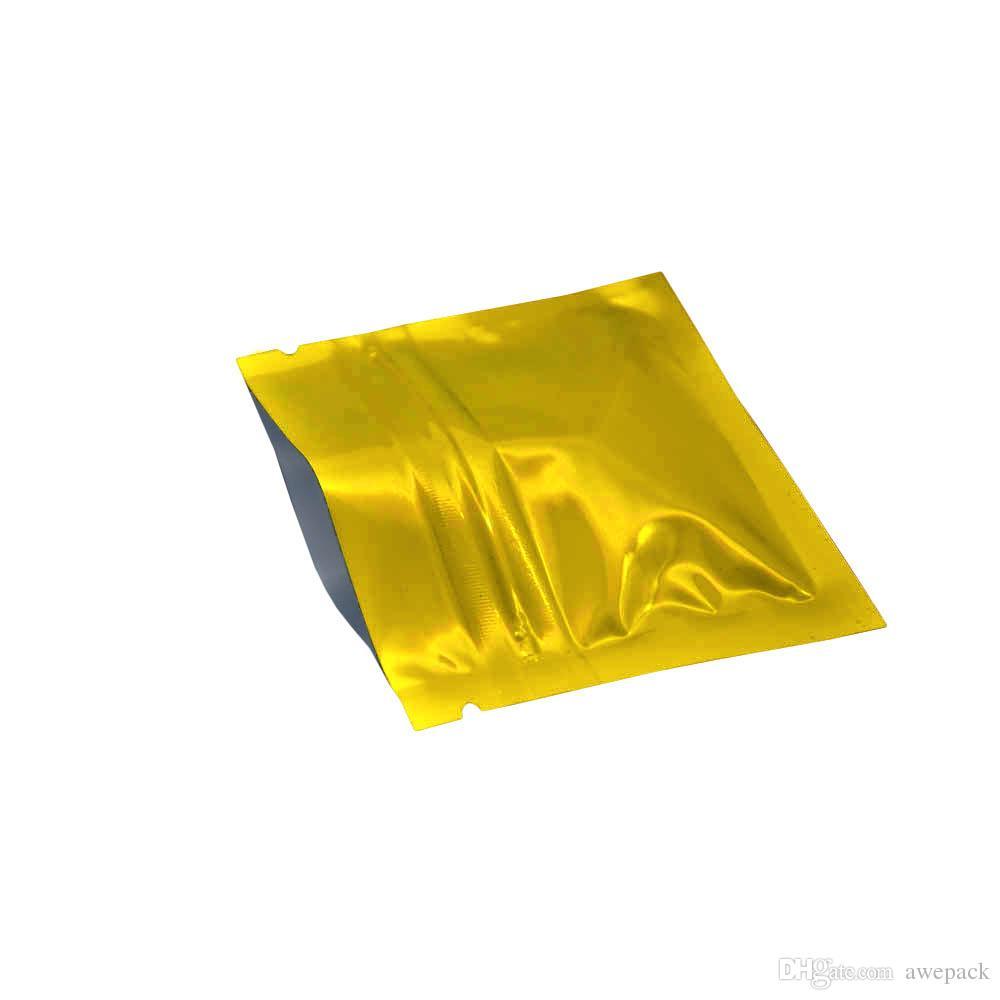 200Pcs/몫 작은 금 지퍼 알루미늄 호일 패킹 부대 7.5*6cm 열-커피 차 캡슐 팩을 위한 밀봉할 수 있는 광택 있는 지퍼 자물쇠 Mylar 저장 부대