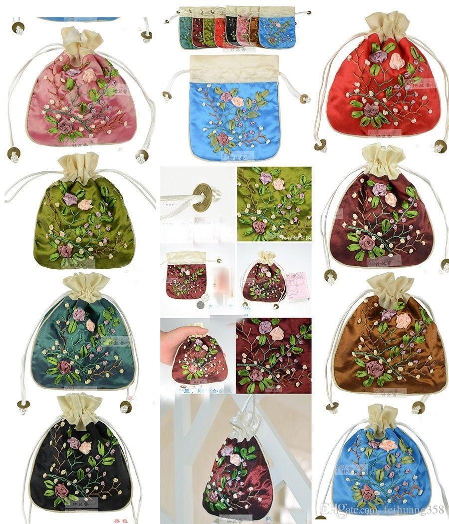 Wholesale10pcs Çin El Yapımı Işlemeli Ipek Hediye Çantaları Jewerly Kılıfı