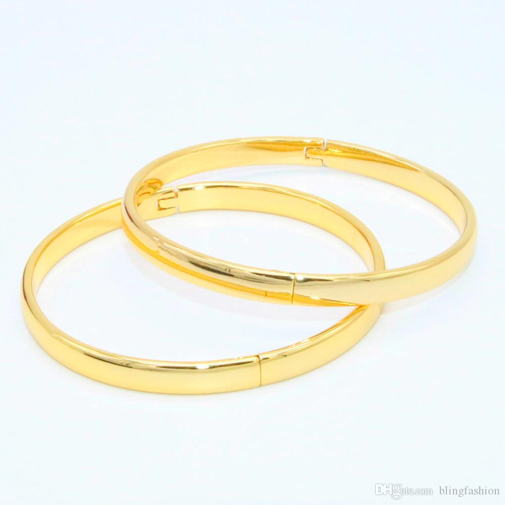 bce88f8f6 Plain Smooth Bangle 18k Yellow Gold Filled Simple Style Womens Girls  Classic Bangle Bracelet Openable Dia ...