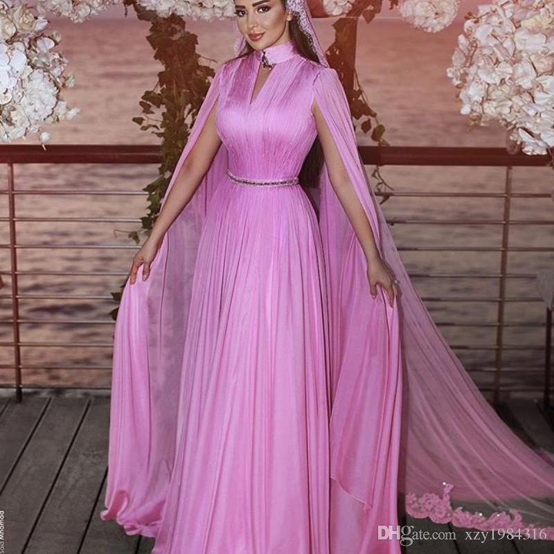 High Neck Chiffon Party Gowns Sexy Key-Hole Ruched Long Sleeve Sash Evening Dresses Elegant A-Line 2018 Prom Dress Without Veil