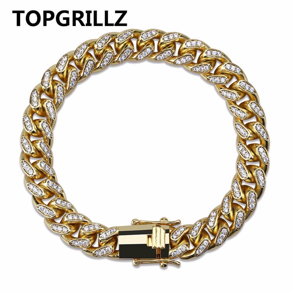 TOPGRILLZ 10 мм Майами кубинская цепь браслет медь золото серебро цвет оттаявшим микро проложить CZ браслеты хип-хоп мужские ювелирные подарки