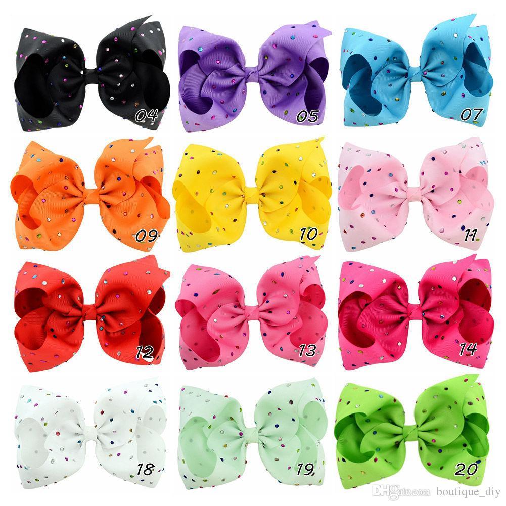 Vente au détail 8Inch Mignon Bébés filles canard clip JOJO Bow Hairpin cristal coloré bowknot cheveux clip Boutique enfants colorés Barrettes H02