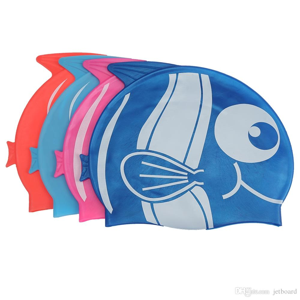 XinHang Cartoon Fish Shark Pattern Silicone Swimming Cap Smooth design, non-toxic and odorless, comfortable for swimming use