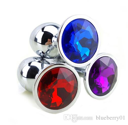 Hot 12 Colors Metal Anal Sex Toys For Women & Men Anal Butt Plugs + Crystal Jewelry Booty Beads Anal Tube Sex Products free shipping